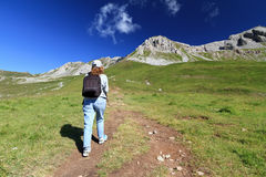 Hiker in Dolomites Royalty Free Stock Image