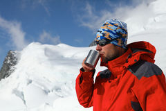 Hiker drink coffee or tea Royalty Free Stock Photo