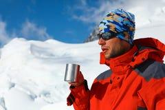 Hiker drink coffee or tea Royalty Free Stock Photos