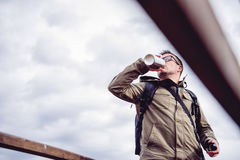 Hiker drinking water Royalty Free Stock Image