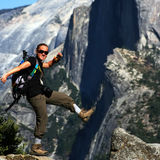 Hiker at the Edge - Yosemite Stock Images
