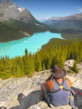 Hiker Enjoying Beauty of Landscape Stock Images