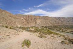Hiker Enjoying the Desert View Stock Images