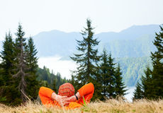 Hiker enjoying mountain view Royalty Free Stock Photography