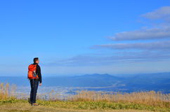Hiker Enjoying View on Mountain Royalty Free Stock Photography