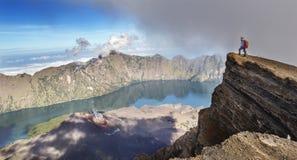 Hiker enjoying the view of Mt Rinjani