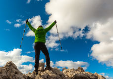 Hiker enjoying view from top of mountain Stock Photography