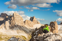 Hiker enjoying view from top of mountain Royalty Free Stock Photo