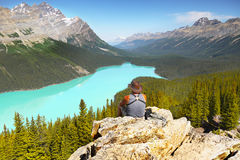 Hiker enjoying view Royalty Free Stock Image
