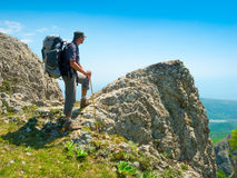 Hiker enjoys landscape Stock Photography
