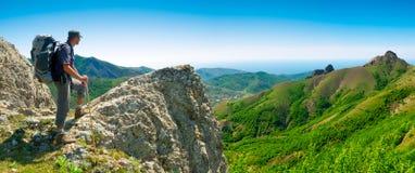 Hiker enjoys landscape Stock Photo