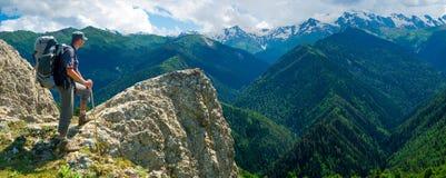Hiker enjoys landscape Stock Photos