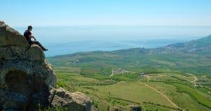 Hiker enjoys landscape Royalty Free Stock Photo