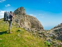 Hiker enjoys landscape Royalty Free Stock Images
