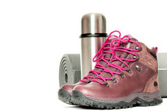 Hiker equipment isolated on white close up Stock Photography