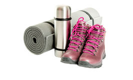 Hiker equipment isolated on white on middle Stock Images