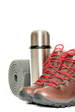 Hiker equipment isolated on white vertical Royalty Free Stock Photography