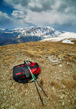 Hiker equipment on the mountain top Royalty Free Stock Image