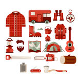 Hiker Equipment Objects Collection. Of Flat Cartoon Style Isolated Vector Icons On White Background Royalty Free Stock Photography