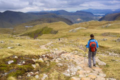 A hiker at Esk Hause, Lake District. Stock Images