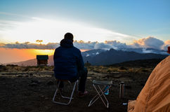 Hiker in the evening sun - Kilimanjaro, Tanzania, Africa Stock Images