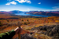 Hiker in fall-colored tundra Stock Photos