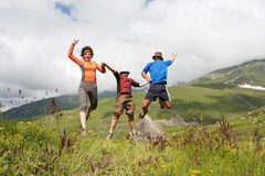 Hiker family Stock Images