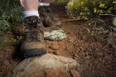 Hiker feet on a mountain trail stock photos