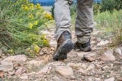 Hiker feet on a mountain trail royalty free stock photos