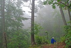Hiker in the fog Royalty Free Stock Photos
