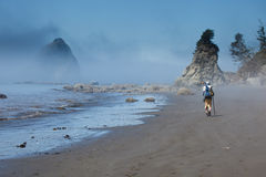 Hiker on a foggy beach Royalty Free Stock Photography