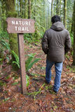 Hiker Following A Sign Royalty Free Stock Images