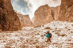 Hiker on footpath Sella Ronda mountain south Tyrol Stock Image