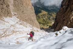 Hiker on footpath Sella Ronda mountain south Tyrol Stock Photos
