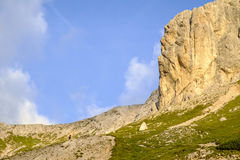 Hiker on the footpath. To Planika hut, Julian alps Royalty Free Stock Images