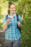 Hiker Geocaching or Treasure Hunting Royalty Free Stock Images