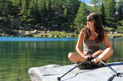 Hiker Girl And Green Lake Royalty Free Stock Images