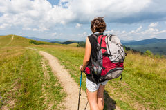 Hiker girl Stock Images