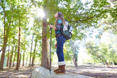 Hiker girl with hiking pole and backpack in forest Stock Images