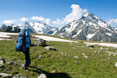 Hiker girl in mountain wally. Royalty Free Stock Photos