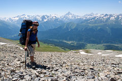 Hiker girl in mountain wally. Stock Images