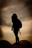 Hiker. A girl standing on top of a mountain Royalty Free Stock Photo