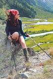 Hiker girl on stone Royalty Free Stock Photos