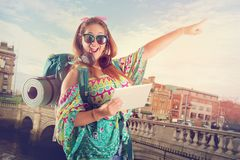 Traveling girl with tablet royalty free stock photos