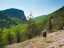 Hiker girl trekking Royalty Free Stock Images