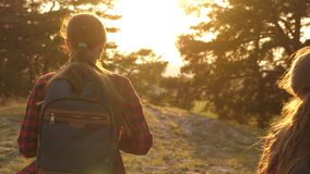 Hiker Girl. Two teen tourists travel with backpacks through the woods. Girls go hiking looking for adventures. The stock footage