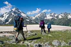 Hiker girls in mountain wally. Royalty Free Stock Image