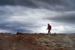 Hiker in gloomy skies Royalty Free Stock Image