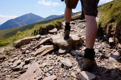 Hiker going up mount brandon. Hiker walking up mount brandon in ireland Stock Photo