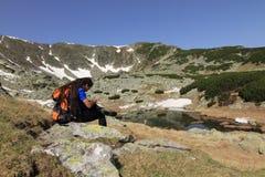 Hiker with gps Stock Photos